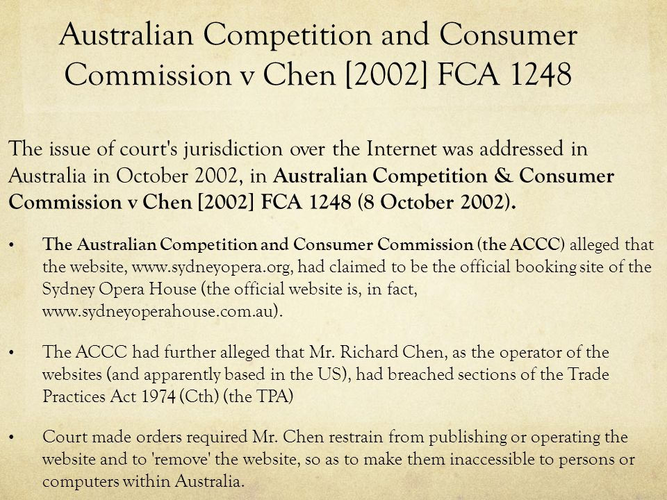 Australian Competition and Consumer Commission v Chen [2002] FCA 1248